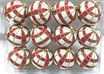 Queens of Christmas WL-ORN-12PK-PLD-RE 12 Pack Ball Ornament with Red and Gold Plaid Design, White]()