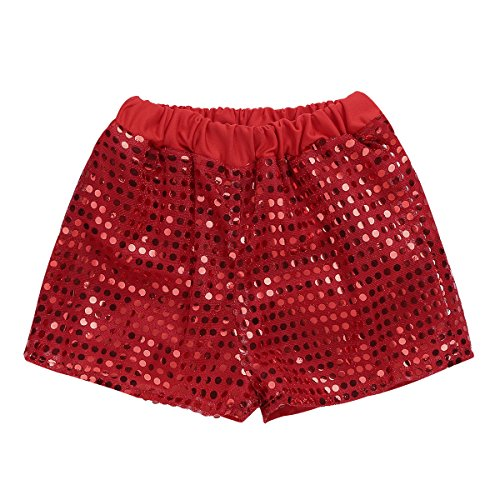 Freebily Kids Boys Girls Glittery Sequined Shorts Dance Stage Performance Pants Clothes Red 2-3]()