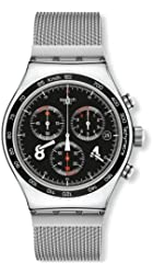 Swatch Men's 'Irony Blackie' Quartz Stainless Steel Automatic Watch, Color:Silver-Toned (Model: YVS401GB)