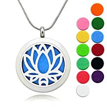 """Lademayh 30mm Essential Oil Diffuser Locket Necklace / Lotus Pattern Stainless Steel Pendant / 24"""" Chains & 10Pads"""