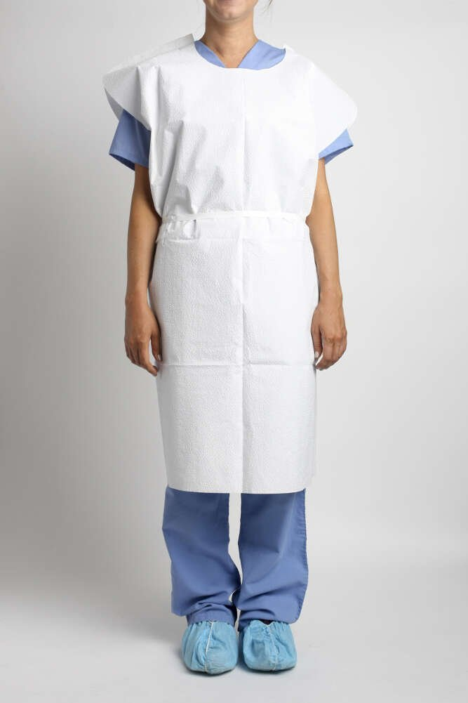 MediChoice Exam Gowns, 31 Inch x 42 Inch, Reversible Front Back Opening, Stretchable Waist Tie With Knee Length Cuff, 4 Ply Tissue/Poly, Universal, Blue (Case of 50)