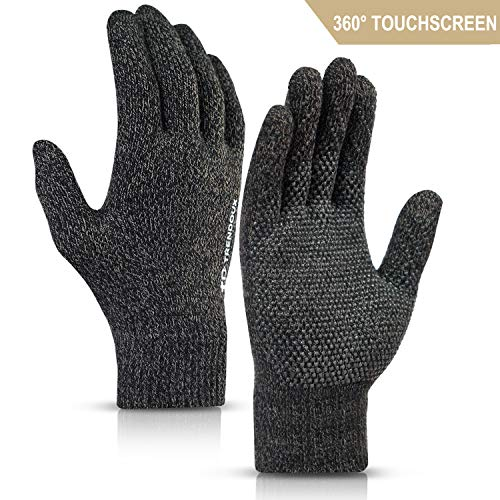TRENDOUX Winter Gloves for Women, 360° Whole Palm Touchscreen Gloves Men Unisex - Non-Slip Grip - Elastic Cuff - Thermal Liners for Cold Weather - Windproof for Driving Texting - Black & Khaki - L