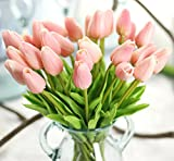 SEEYANG Tulips Artificial Flowers 10 PCS, Fake Flowers PU Small Vintage Décor for Wedding, Home, Party (Champers)