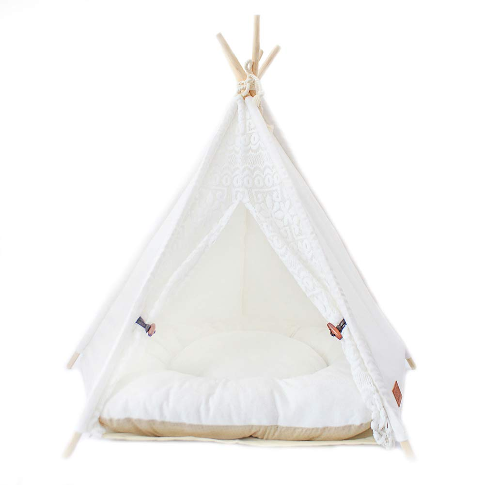 Small YZONG Pet Teepee With Cushion,Portable Cat Dog Pet Tent Pet House Kennel,Dog(Puppy) Beds,Cat Teepees,S