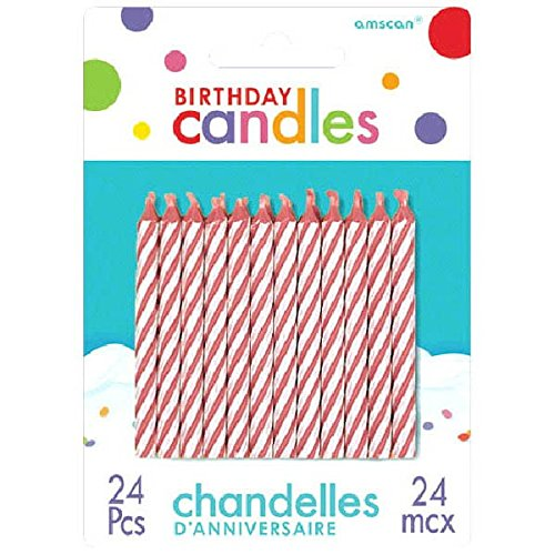 Pink Candy Stripe Spiral Birthday Candles | Pack of 24 |Party Supply (Candles Cake Pink Striped)