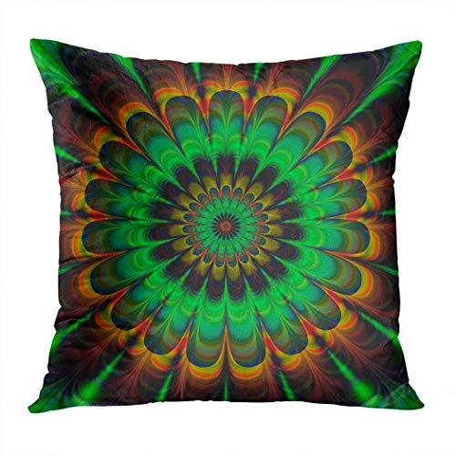 - Suike Throw Pillow Cover Brown Fractal Abstract Flower in Verdigris Colors Digitally Rendered Hidden Zipper Home Sofa Decorative Cushion Case 16x16 Inch Square Printed Pillowcase