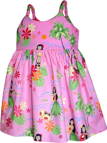 Pacific Legend Girls Hula Girl Dance Toddler Bungee Dress Pink 5-6 for 3yrs old