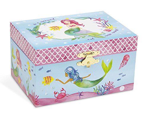 JewelKeeper Mermaid Musical Jewelry Box, Underwater Design with Narwhal, Over The Waves Tune