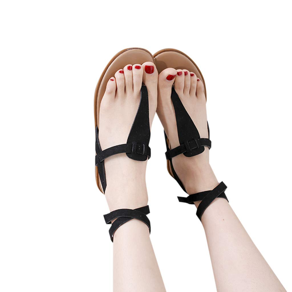 2019 Summer Lady Large Size Flat Shoes Roman Shoes Fashion Casual Solid Color Strap Buckle Sandals US:5-9 (Black, 7)