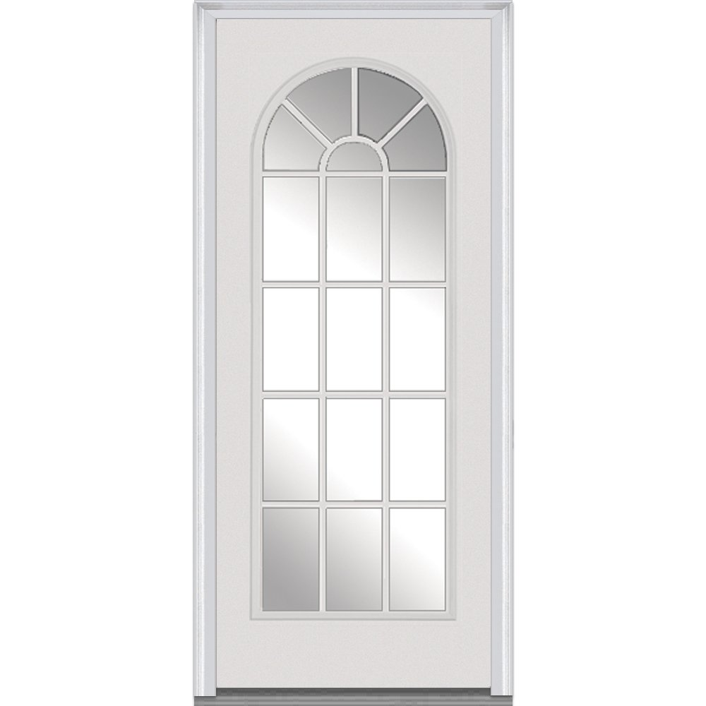 National Door Company Z000777R Steel Primed, Right Hand In-swing, Prehung Front Door, Full Lite Round Top, Clear Glass, 36'' x 80''