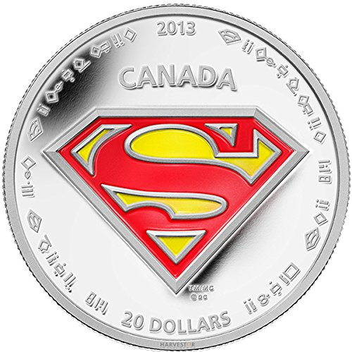 2013 CA Superman: Shield - Silver 1 oz. Proof Coin - Canada RCM - with all OGP and COA $20 Superb Gem Uncirculated (Commemorative Mint Coins Royal)