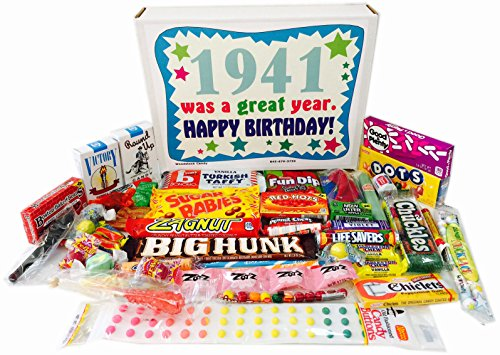 76th Birthday Gift Box of Nostalgic Retro Candy from Childhood for a 76 Year Old Man or Woman Born in 1941