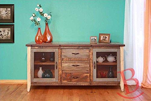 Cheap Rustic Christopher Multicolor Buffet w/Mesh Doors Real Wood
