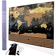 Scratch off World Map Poster I Travel Tracker Map I Map Pins I Detailed USA Map I Wall Poster Map I Includes Travel Stickers and Accessories I Large Size 32.5 x 23.5 I  (By Travel Maps Central)