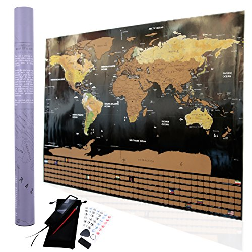 Scratch off World Map Poster I Travel Tracker Map I Map Pins I Detailed USA Map I Wall Poster Map I Includes Travel Stickers and Accessories I Large Size 32.5 x 23.5 I  (By Travel Maps Central) (Large Usa Sticker)
