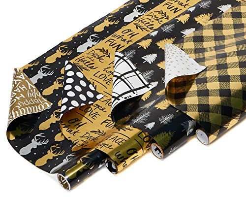 American Greetings Foil Reversible Christmas Bulk Gift Wrapping Paper Bundle, 4 Rolls; Black and Gold Christmas Trees, Plaid, Script and Reindeer, 80 Total sq. ft. ()