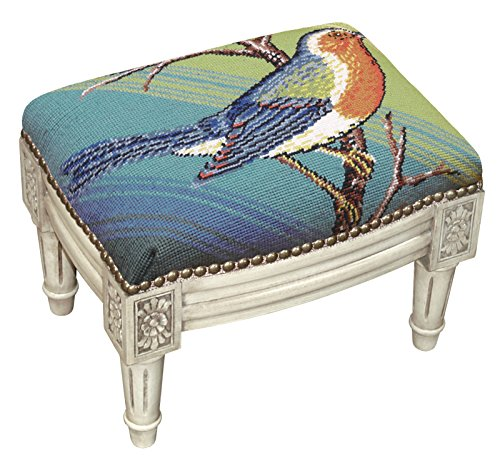 (FOOTSTOOLS - Bluebird Needlepoint Footstool - Foot Stool - Blue Bird)
