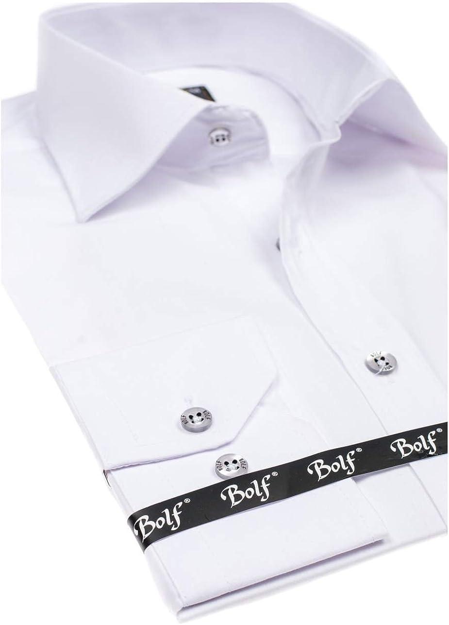BOLF Hombre Camisa Elegante Varios Colores BOLF 1703 Blanca L [2B2]: Amazon.es: Ropa y accesorios