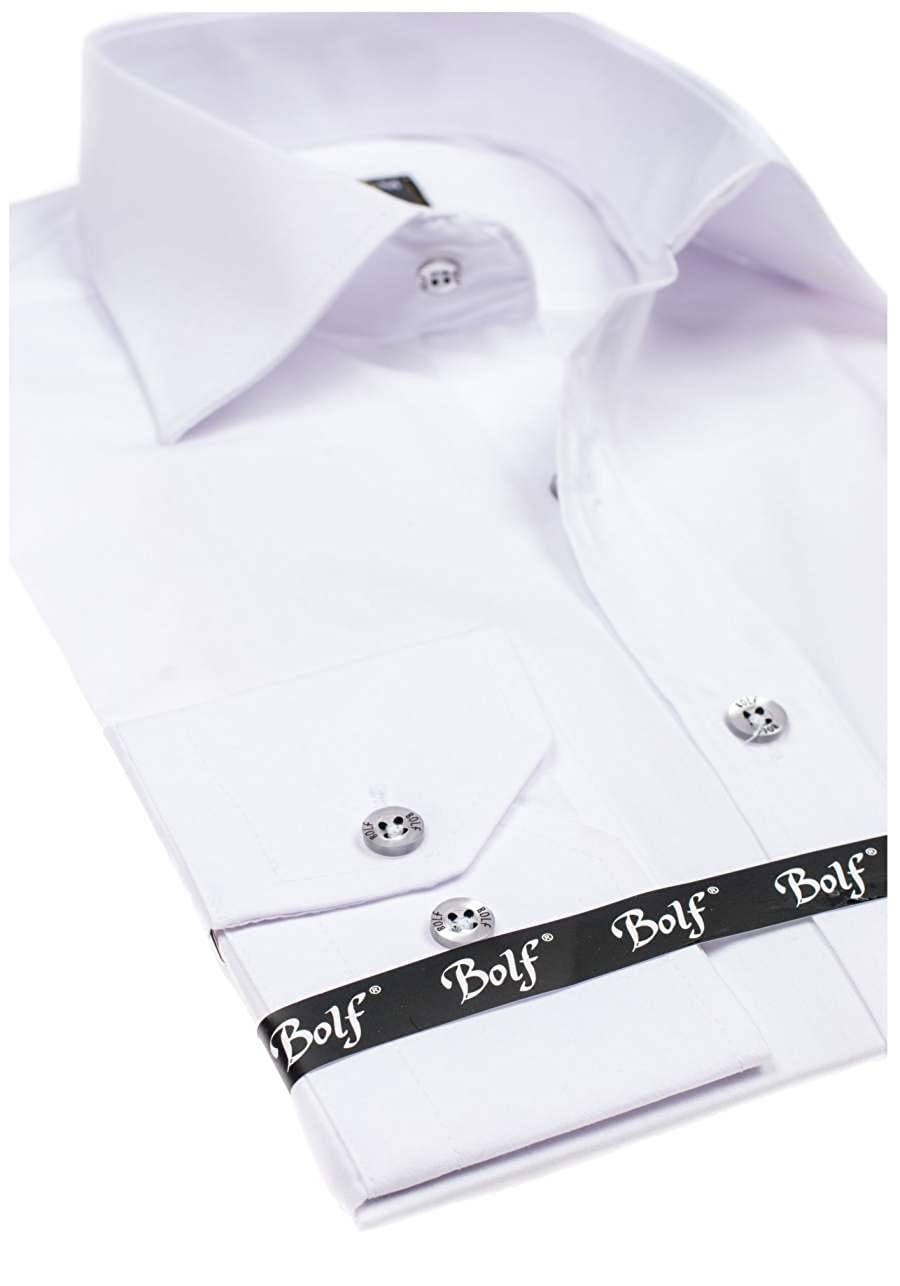 BOLF Hombre Camisa Elegante Varios Colores BOLF 1703 Blanca L [2B2 ...