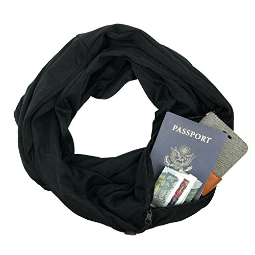 Infinity Scarf Shawl Viscose Blanket Scarf - Travel Scarf Gift Stash with Zipper Pocket Black Fashion (Solid Black Scarf) from LINKED MODA