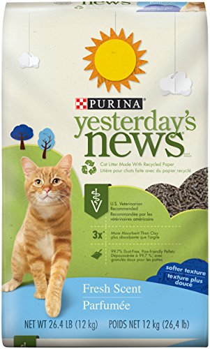 Purina Yesterday's News Fresh Scent Non-Clumping Cat Litter - (1) 26.4 lb. Bag (Recycled Paper Pellets)