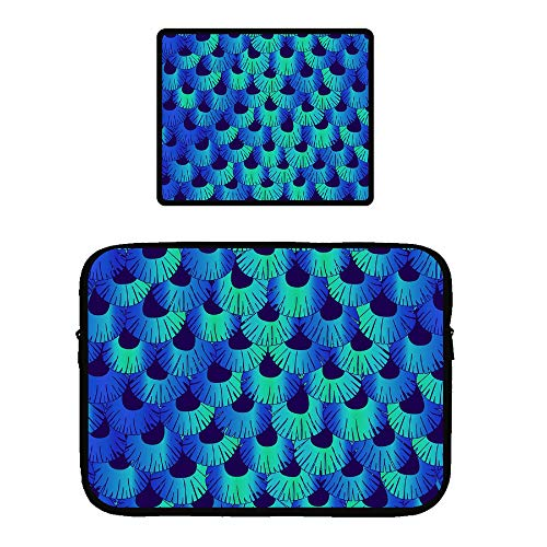 Zipper Sleeve Case for 115 inch MacBook Air Pro Anti-Scratch Microfiber Laptop Bag Dual Pocket with Locking Edge Mouse Pad Mermaid Fish Scales