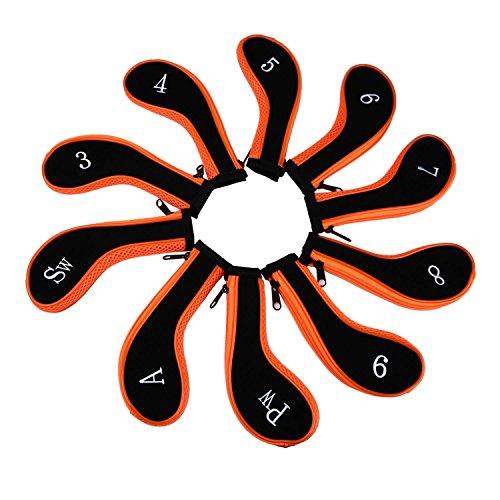 Neoprene Zipper Golf Club Iron Head Covers Iron Covers 10pcs/Set(New Orange)