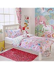 Dekbedovertrekset voor meisjes, junior, kleine kinderen, quilt, dekbedovertrek en kussenslopen, bloemenregenboog, roze