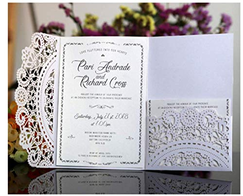 10PCS #2 White Laser Cut Wedding Invitations Cards Wedding Birthday Engagement Greeting Tksmart from Unknown