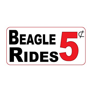 Beagle rides 5c retro vintage style label decal sticker sticks to any surface 8 in