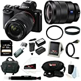 Sony ILCE7K/B 24.3 MP a7K Full-Frame Interchangeable Digital Lens Camera with 28-70mm Lens plus Sony 16-35mm Vario-Tessar T FE F4 ZA OSS E-Mount Lens and Sony 64GB SD card, Focus DSLR system case, 2 additonal NP-FW50 batteries and charger, Deluxe Accessory Kit