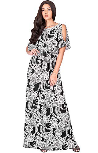 KOH KOH Petite Womens Long Floral Print Short Sleeve Summer Sexy Casual Sundress Boho Bohemian Split Flowy Cute Sundresses Sun Gown Gowns Maxi Dress Dresses, Black & White S 4-6