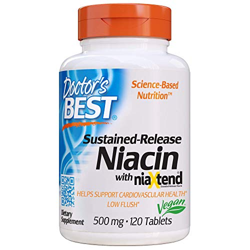 Doctor's Best Time-Release Niacin with niaxtend, Non-GMO, Vegan, Gluten Free, 500 mg, 120 Tablets