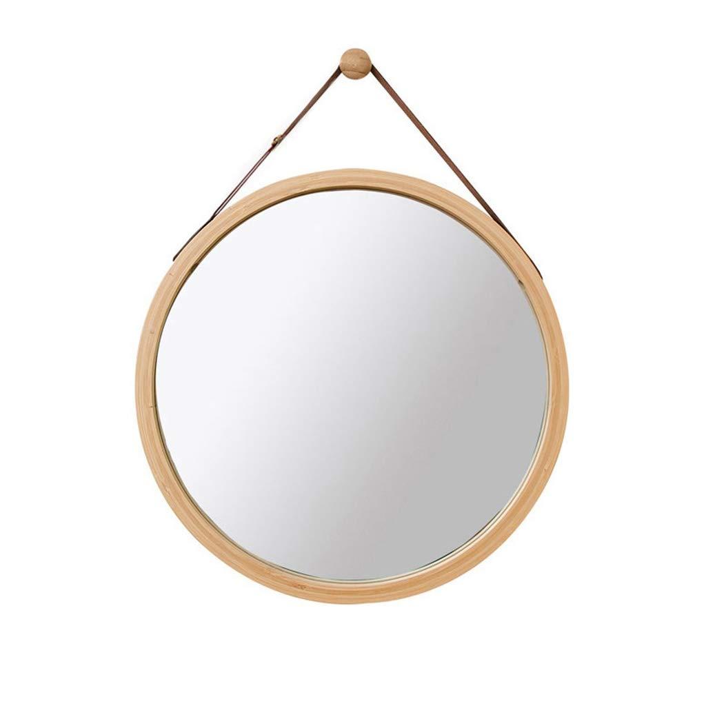 LH-Spiegel Runde Wand Badezimmer Spiegel Hängenden Spiegel   Wandmontierter Schminkspiegel   Kreis-Schminkspiegel   Holz Bambus Rahmen (größe   Diameter 38cm)