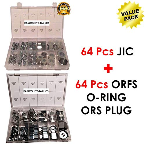 (RAMCO HYDRAULICS 64 Pcs Lot JIC Hydraulic Adapter AN Kit + 64 Pcs Lot ORFS O-RING ORS Plug & Cap Flat Face Hydraulic Fitting Seal Kit VALUE PACK For High Pressure Fuel Delivery Fluid Power Application)