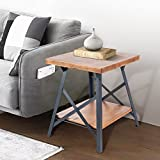"Harper&Bright designs WF036983DAA Lindor Collection Solid Wood End Table with Metal Legs,Living Room Set/Rustic Brown, 19.68""L × 19.68""W × 23.62""H"