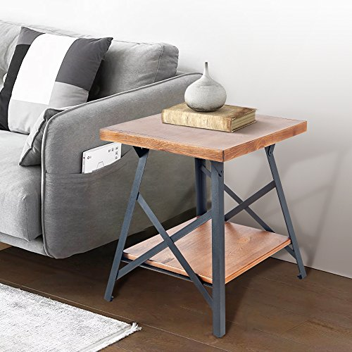 Harper&Bright designs WF036983DAA Lindor Collection Solid Wood End Table with Metal Legs,Living Room Set/Rustic Brown For Sale