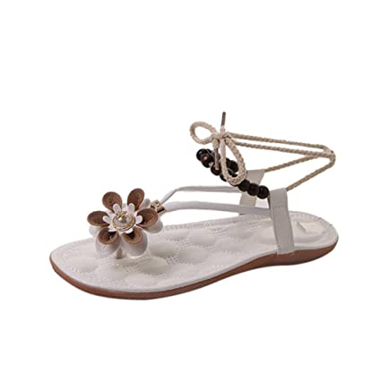 Amazon strappy flats sandals slipper women flower flip flops strappy flats sandals slipper women flower flip flops low heels peep toe wedges boat shoes mightylinksfo