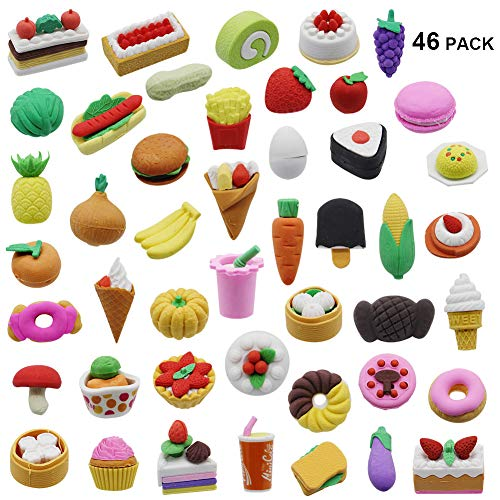 MorTime 46PCS Pencil Erasers Assorted Food Cake Dessert Puzzle Erasers Toys Erasers for Kids -