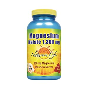 Nature's Life® Magnesium Malate 1300mg | With Malic Acid for Maximum Absorption | May Support Healthy Bones, Teeth & Nerve Function | Non-GMO | 250 Ct