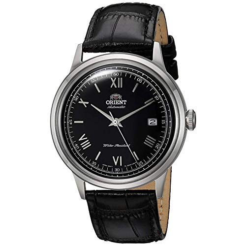 Orient Men's 2nd Gen. Bambino Ver. 2 Stainless Steel Japanese-Automatic Watch with Leather Strap, Black, 21 (Model: FAC0000AB0) (Swiss Men Leather Watch)