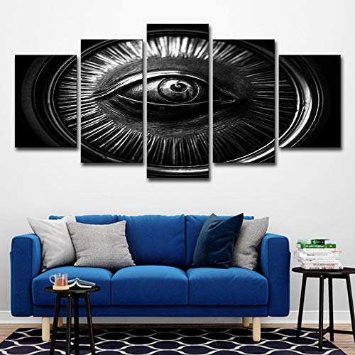 Canvas Hd Prints Paintings Home Decor Modular Pictures Framework 5 Pieces Abstract Eye in Wheel Posters for Living Room Wall Art no Frame M: 10X15-2P 10X20-2P 10X25-1P