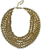 KENNETH JAY LANE-GOLD METAL CHAIN WOVEN LINK BIB NECKLACE-16-22 INCHES