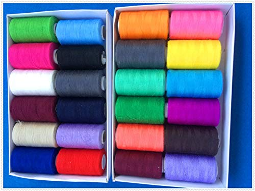 Laliva Good Quality Sewing Thread,100% Polyester,24 Different Colours/Lot,40S/2,1000 Yards/Spool,Both for Machine&by Hands,Best Seller! - (Color: 9) by Laliva