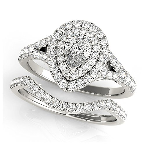 14K White Gold Unique Wedding Diamond Bridal Set Style MT50950