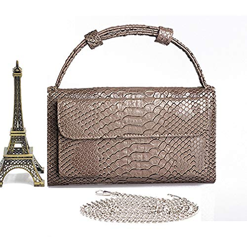 Fashion Cowhide Leather Day Clutch One Shoulder Cross-body Bag Small Crocodile Pattern Genuine Leather Clutch Chain,Khaki A