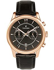 Vincero Luxury Men's Bellwether Wrist Watch — Rose Gold with Black Leather Watch Band — 43mm Chronograph Watch...