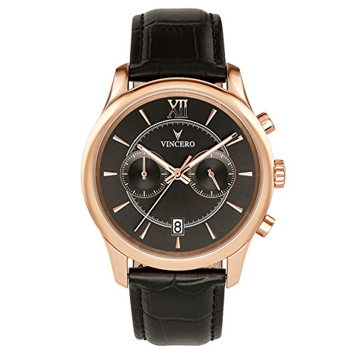 Vincero Men's Bellwether Black & Rose Chronograph Watch with Leather Band by Vincero