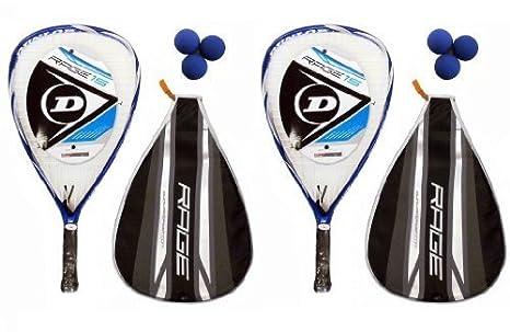 2 x lote de pelotas de raquetball + Dunlop Rage raquetas 3 ...
