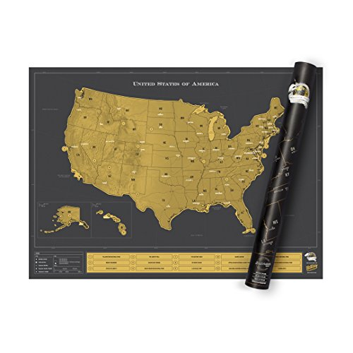 (USA Scratch Map - Scratch Off Travel Map of America - Highly Detailed Scratch Poster - Colorful Pictures & Background Map Décor - Great Gift for Travelers - Black and Gold)